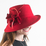 Red Profile Soft Hat - Felt Bow Hats