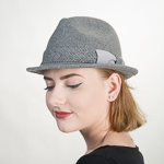 Grey Houndstooth Bow Band Wool Felt Fedora Hats 604bf9f769ed