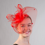 576b49eb8e1 Red Crinoline Flower Bow Feather Comb Fascinator Cocktail Hats