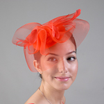 Red Crinoline Comb Fascinator Cocktail Hats