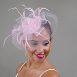 Pink Crin With Feather Comb Fascinator Cocktail Hats