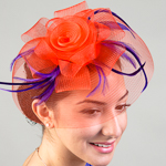 Red / Purple Crin With Feather Comb Fascinator Cocktail Hats