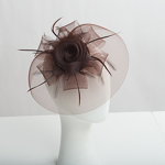 Brown Crin With Feather Comb Fascinator Cocktail Hats