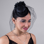 BLACK SINAMAY COCKTAIL HAT