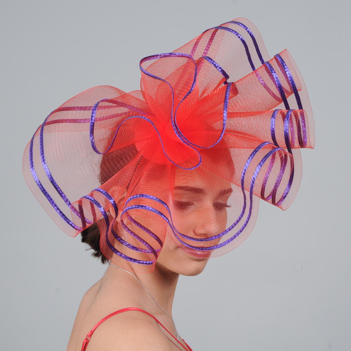 Red Crin Ruffle Fascinator Cocktails Hats-Sun Yorkos  d8d079187c4