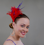 Red / Purple Feather Comb Fascinator Cocktail Hats