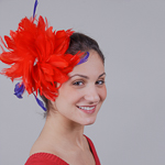 Red / Purple Large Goose Feather Fascinator Cocktail Hats