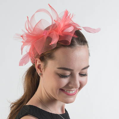 Crinoline Bow Feather Comb Fascinator Cocktail Hats