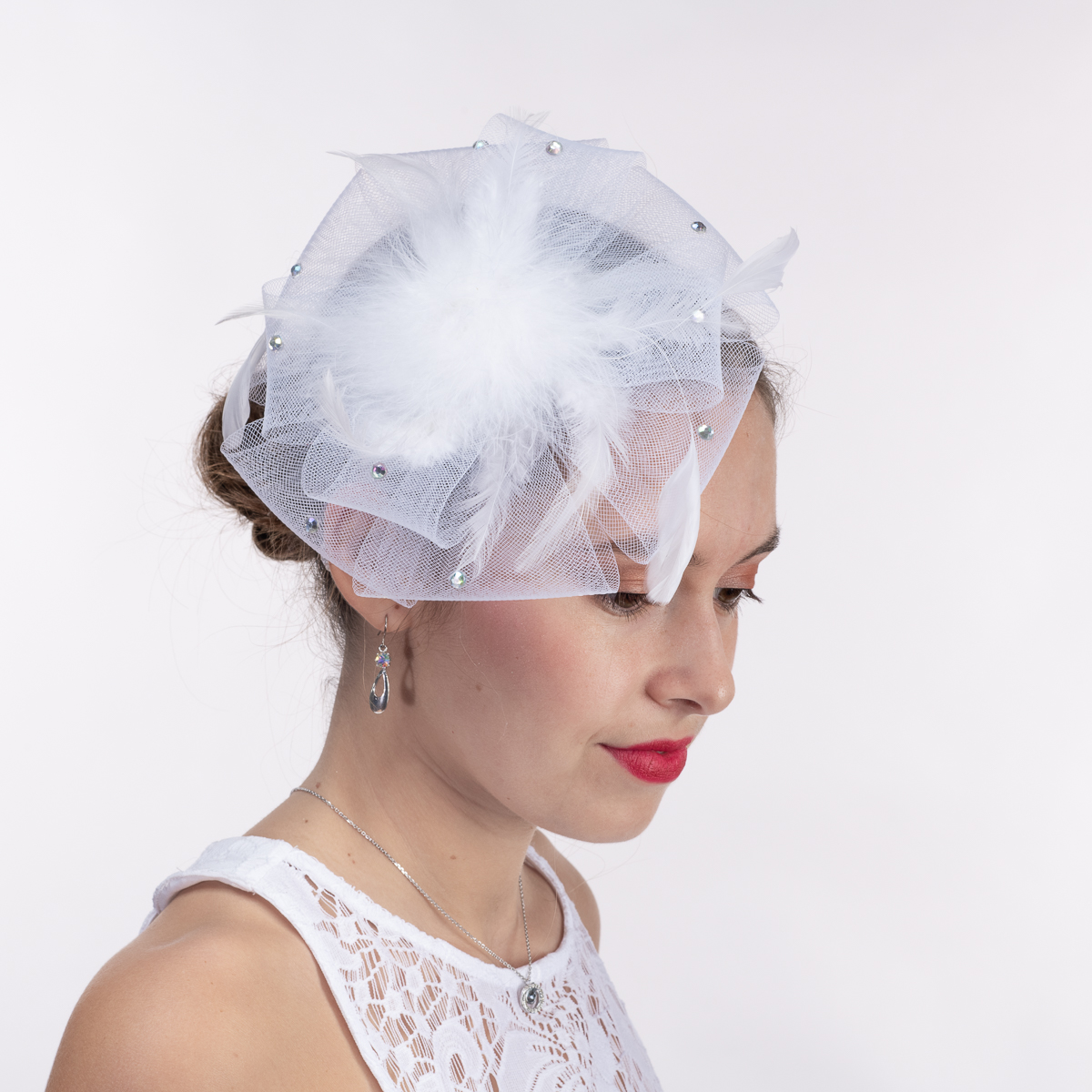 bed9d858829 White Horse Hair Headband Fascinator Cocktail Hats-5704H-WT- Sun Yorkos