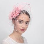 d3e12395880 Pink Silk Flower Face Veils Comb Fascinator Cocktail Hats
