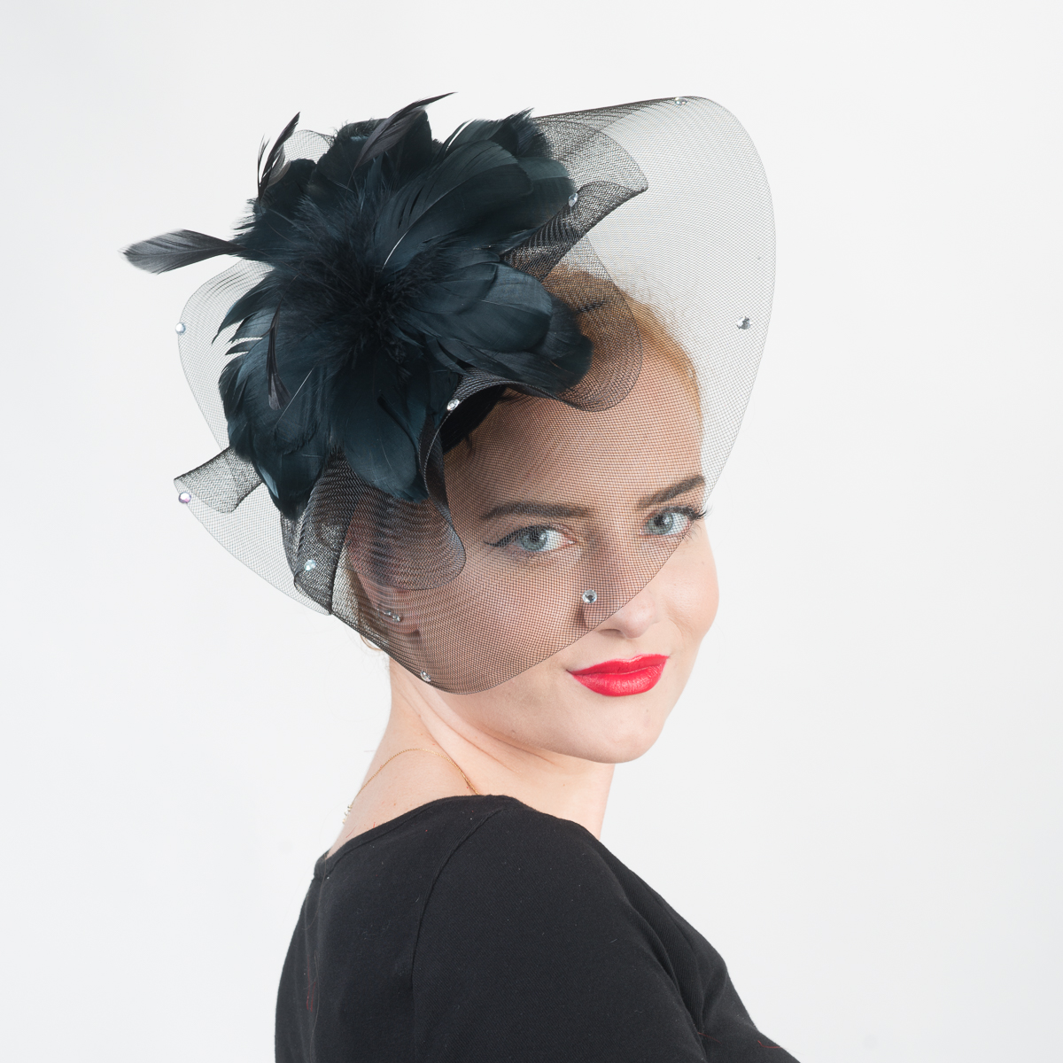 Black Feather Flower Comb Fascinator Cocktail Hats-5725C-BK- Sun Yorkos  b368a3fea05