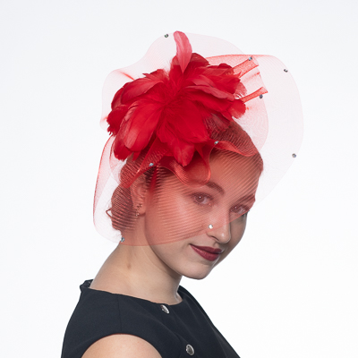 32b20eb2 Red Feather Flower Comb Fascinator Cocktail Hats-5725C-RD- Sun Yorkos |  KaKyCo Accessories