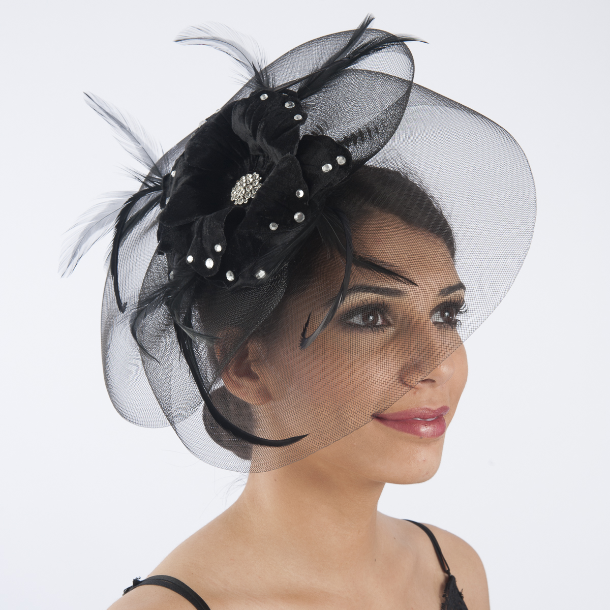 Black Crin And Velvet Comb Fascinator Cocktail Hats-5730C-BK- Sun Yorkos  f14444a03f2