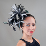 Black White Feather Comb Fascinator