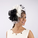 Black And White Silk Flower Comb Fascinator Cocktail Hats
