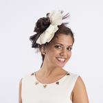 Brown And Beige Silk Flower Comb Fascinator Cocktail Hats