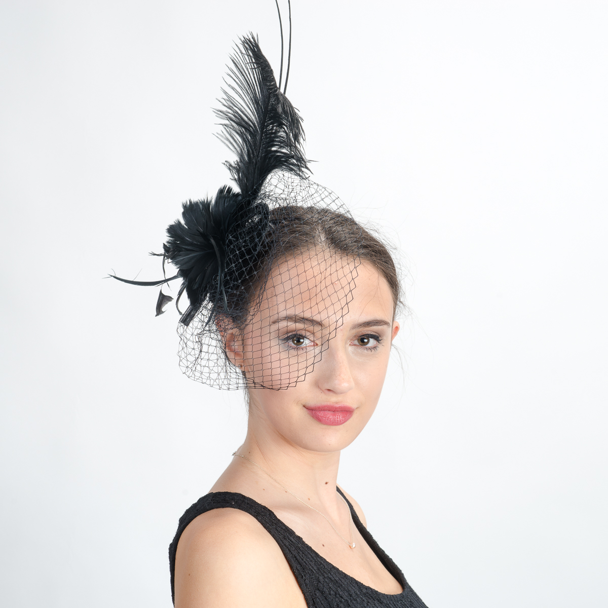 Black Comb Fascinator Cocktail Hats-5746C-BK- Sun Yorkos  701b8b6b3e1