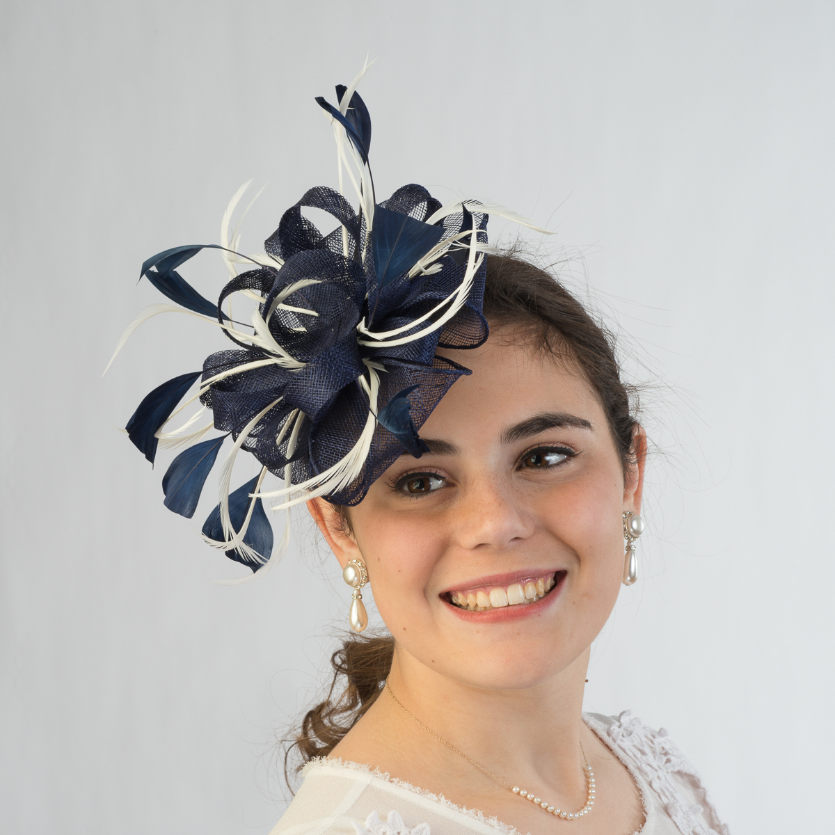 Navy White Sinamay Comb Fascinator Tail Hats