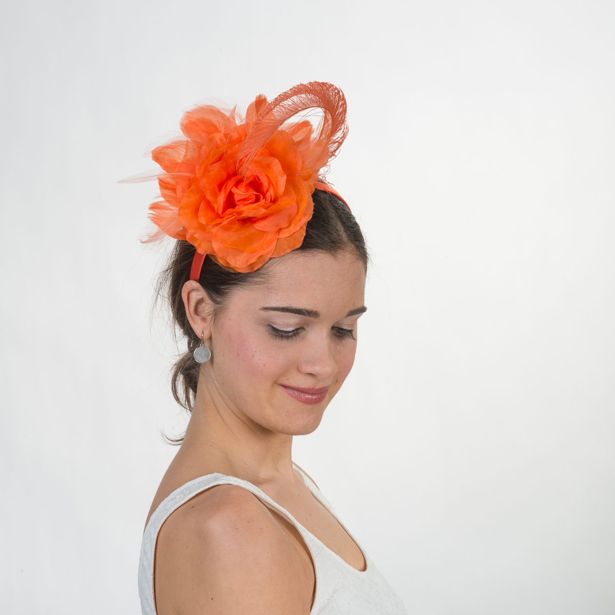 Silk Flower Feather Headband Fascinator 5748h Sun Yorkos Kakyco
