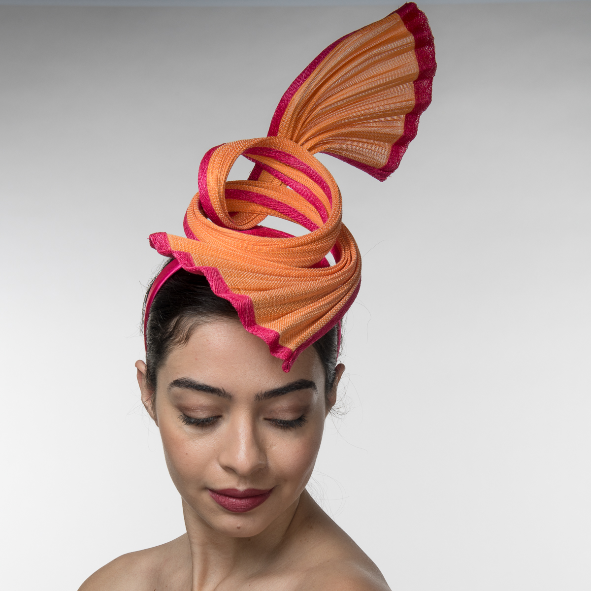 Orange-Fuchsia Peacock Pleated Headband Fascinator Cocktail  Hats-5755H-OR.FU- Sun Yorkos  ff0c05c82a2