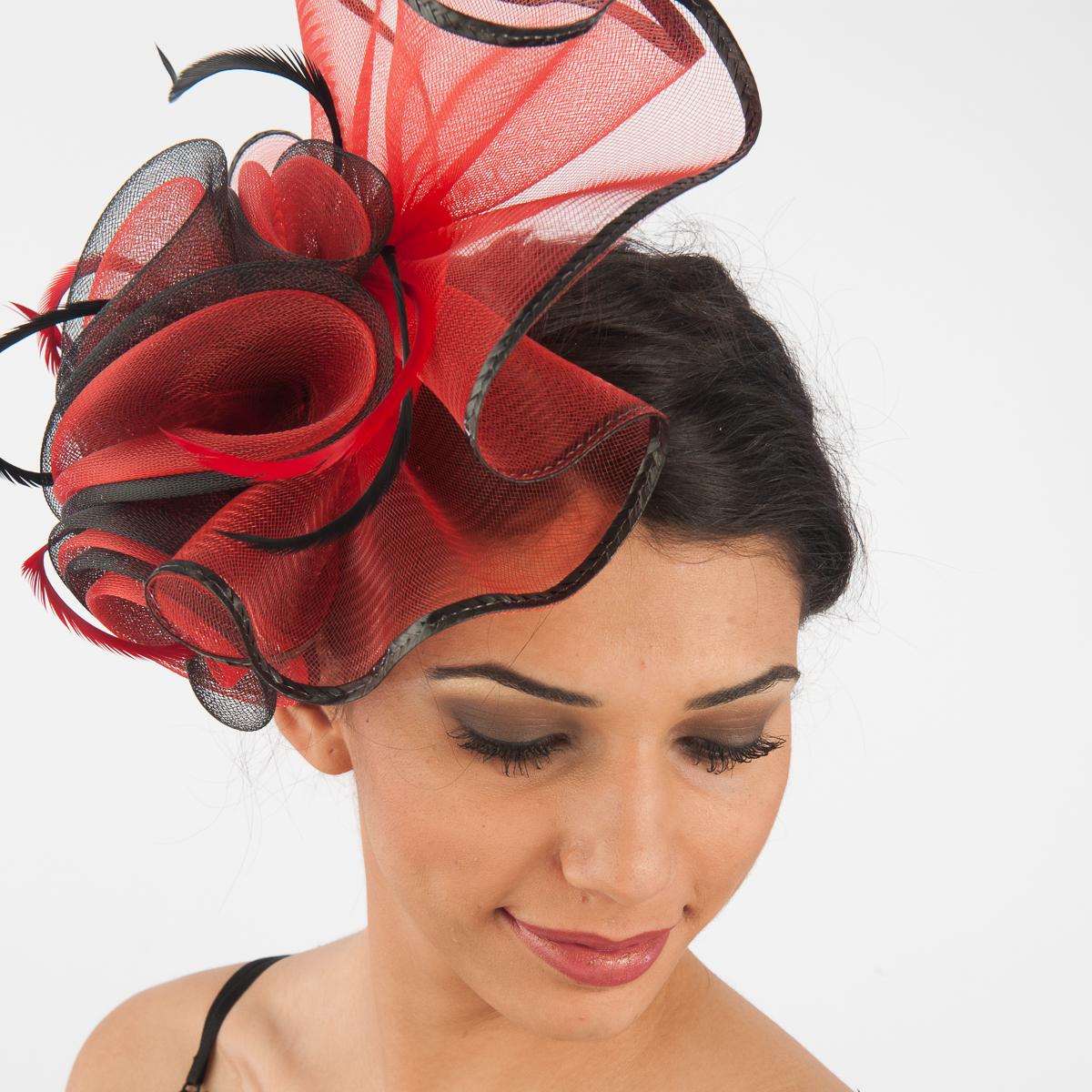 105f4053bfa Red-Black Crinoline Comb Fascinator Cocktail Hats-5757C-RD.BK- Sun ...