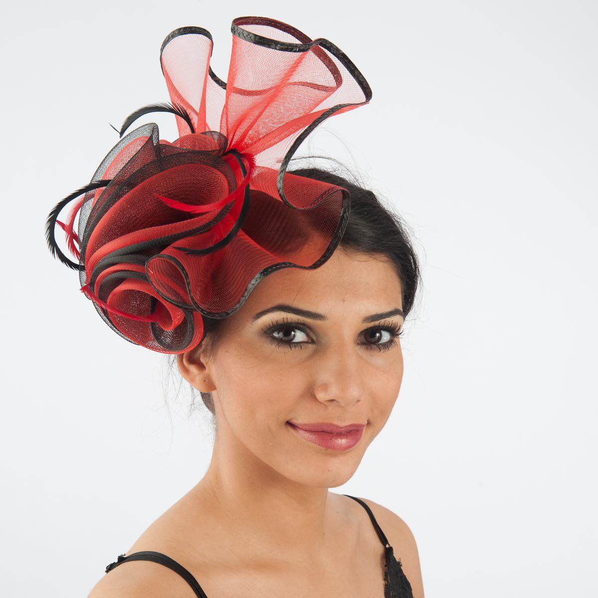 eb78e2fcb57 Red-Black Crinoline Comb Fascinator Cocktail Hats-5757C-RD.BK- Sun Yorkos