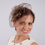 Brown Crinoline Feather Comb Fascinator Cocktail Hats