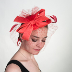 a3e7f5618b5 Red Flower Crinoline Comb Fascinator Cocktail Hats