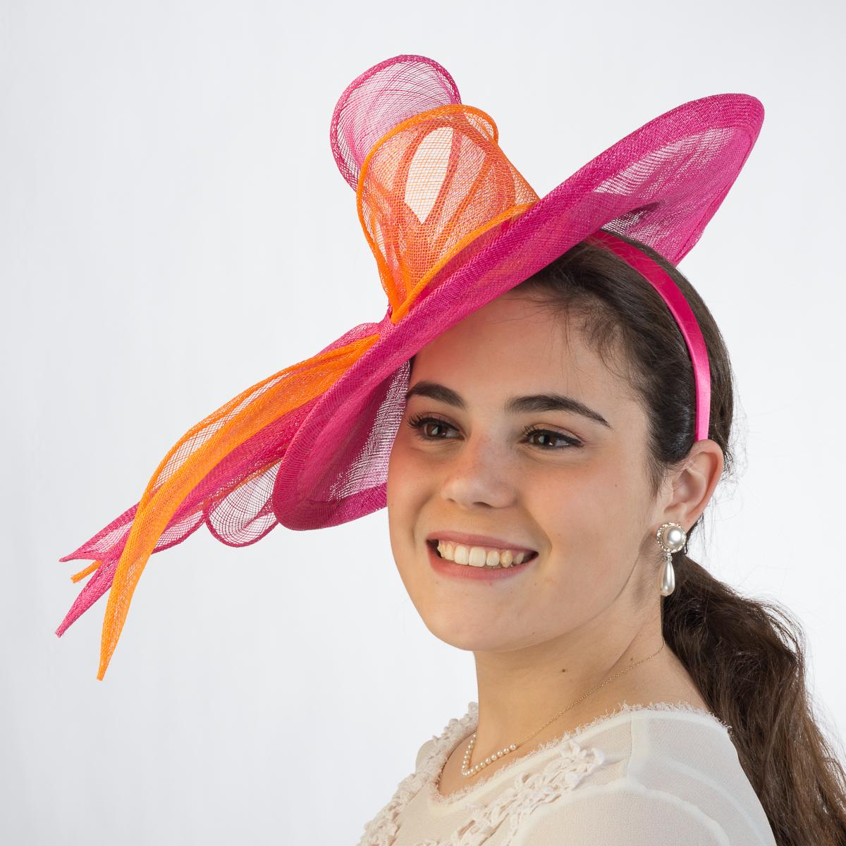 59aa962058dfd Fuchsia-Orange Derby Sinamay Headband Fascinator Cocktail Hats-5780H ...