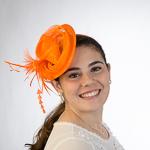 2c46b7863df73 Vivid Orange Derby Sinamay Headband Fascinator Cocktail Hats
