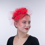 14cfc135b1d Red Metallic Feather Veil Fascinator Cocktail Hats