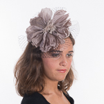 Taupe Silk Flower W/Veil Comb Fascinator Cocktail Hats