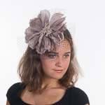Silk Flower W/Veil Comb Fascinator Cocktail Hats