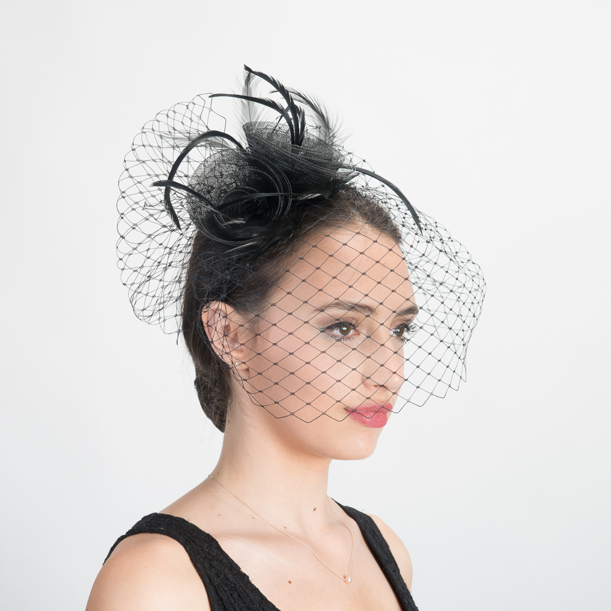 703b26f8e85fc Black Crinoline Face Veil Headband Fascinator Cocktail Hats-5804H-BK- Sun  Yorkos