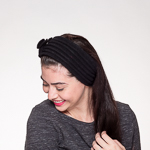 Black Wool Knitted Headband Wrap