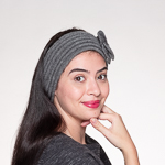 Grey Wool Knitted Headband Wrap