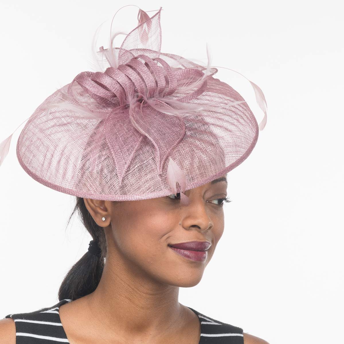 439faea61 Dusty Rose Sinamay Embossed Disc Saucer Headband Fascinator Cocktail Hats
