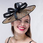 2d1a4d9f28c9f Gold Black Open Weave Sinamay Headband Fascinator Cocktail Hats