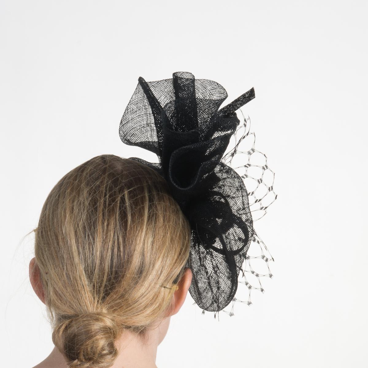 5af30d762b87b Black Fascinator W Veil Headba-5816H-12- Sun Yorkos