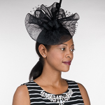 4f90be0d4d9 Black-White Crinoline Comb Fascinator Cocktail Hats-5757C-BK.WT- Sun ...