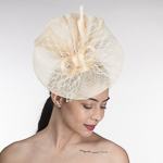 8bf4078872b80 Cream Sinamay Veil Headband Fascinator Cocktail Hats