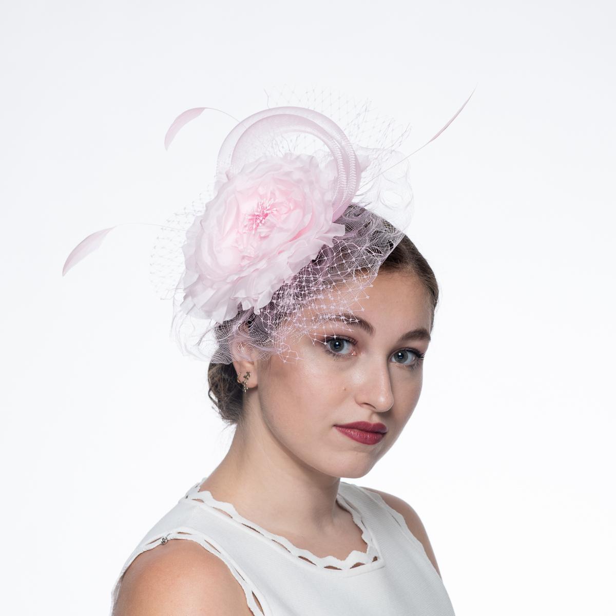 Pink Flower Adorned Crinoline Comb Fascinator Cocktail Hats Sun