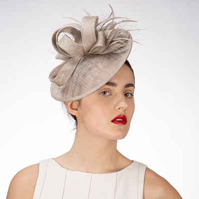 Sinamay Feather Bow Headband Fascinator Cocktail Hats