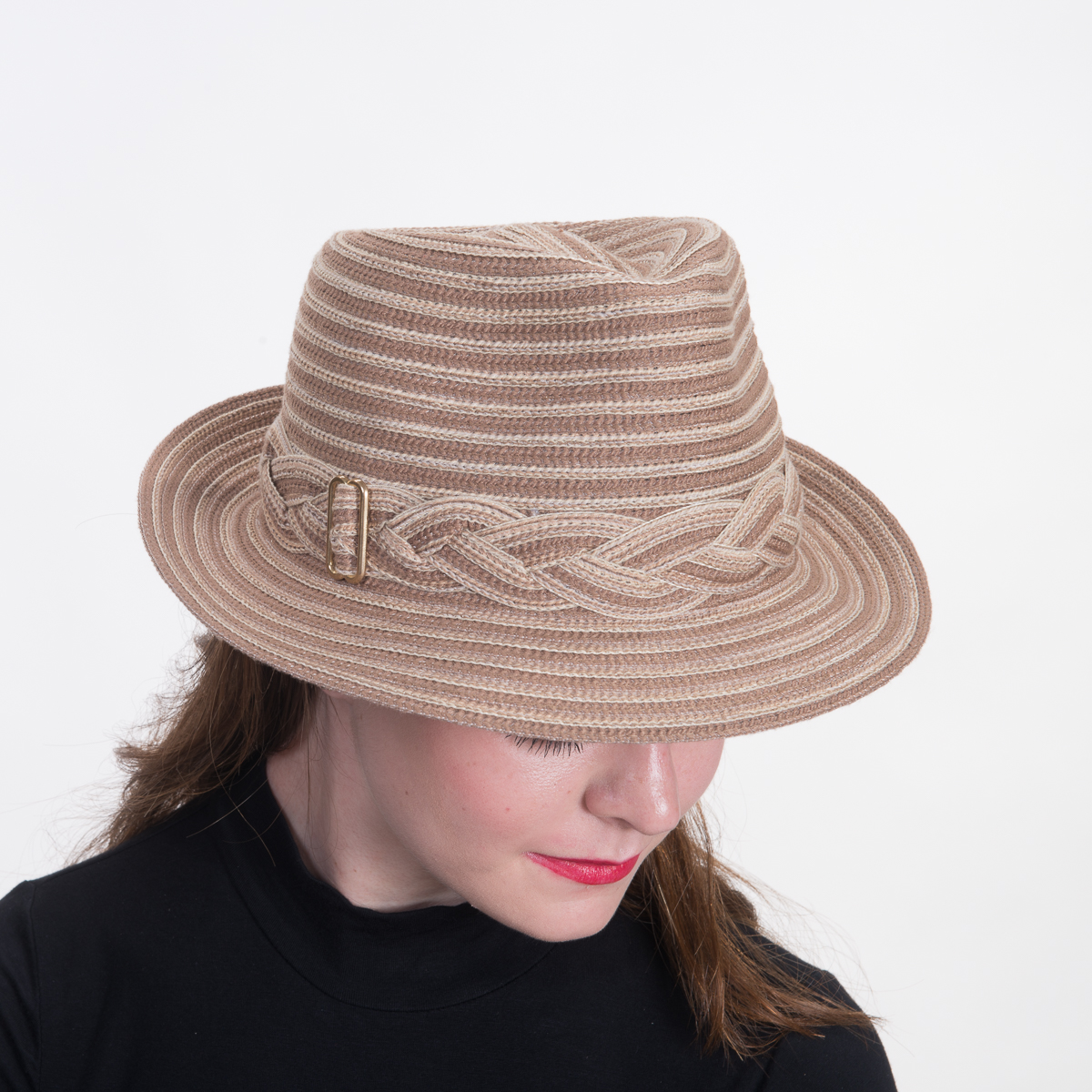 13e37f273 Beige Cotton Mix Fedora-Braided Trim Hats-740082B-BG- Sun Yorkos | KaKyCo  Accessories