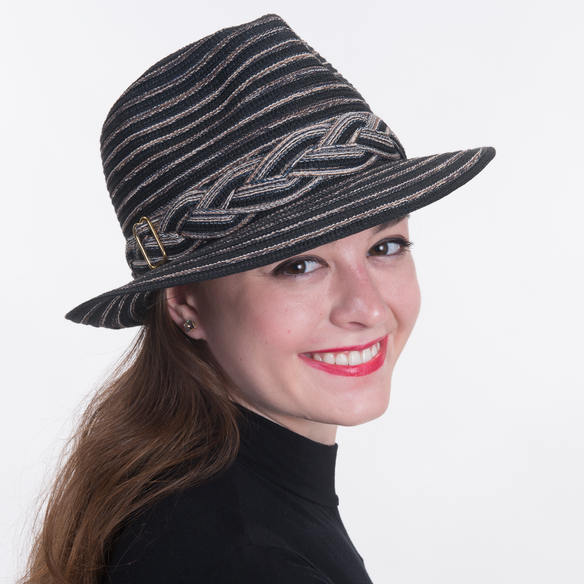 14f8041ed Black Cotton Mix Fedora-Braided Trim Hats-740082B-BK- Sun Yorkos | KaKyCo  Accessories