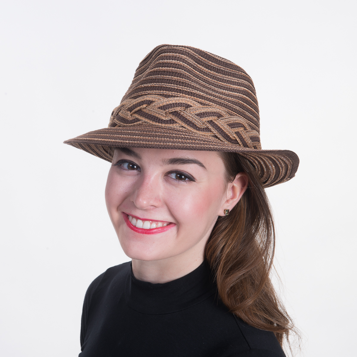 2af9571e8 Brown Cotton Mix Fedora-Braided Trim Hats-740082B-BN- Sun Yorkos | KaKyCo  Accessories