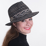 Black Cotton Blended Braided Trim Fedora Hats e8753ec9bed3