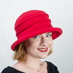 Red Wool Knitted Bucket Hat