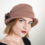 Coffee / Brown Wool Knitted Cloche W/ Flower