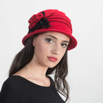 Wool Knitted Cloche W/ Flower
